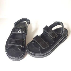 CHANEL Black Leather CC Velcro Straps Sandals